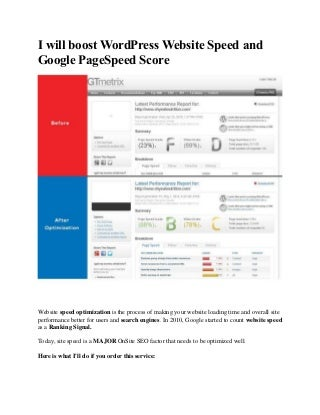 Boost word press website speed and google pagespeed score