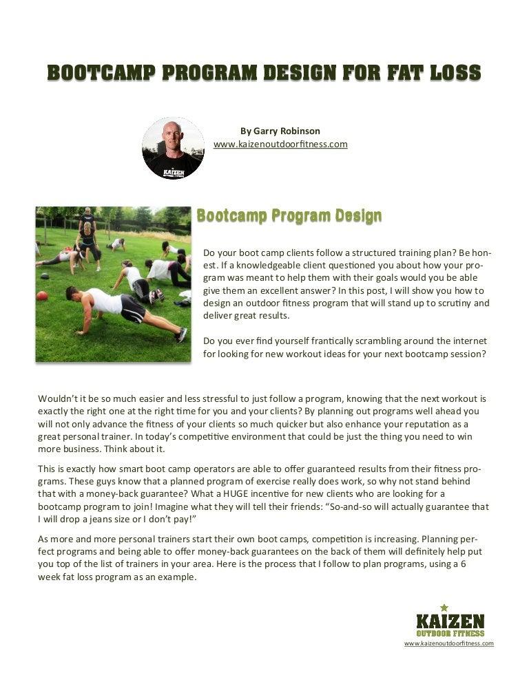 Bootcamp Program Design For Fat Loss