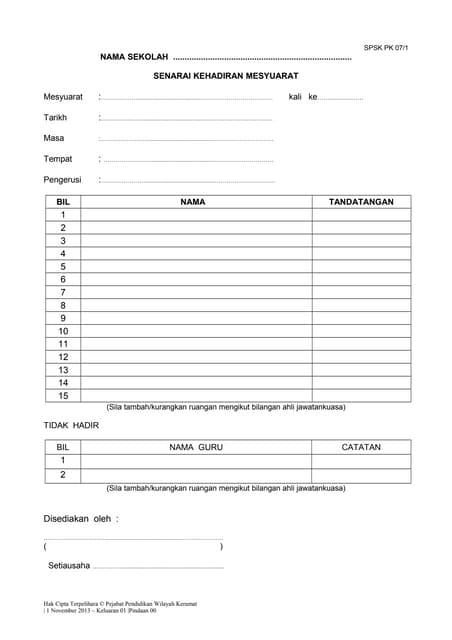 Borang Pk 07 1 Senarai Kehadiran Mesyuara Tppwk
