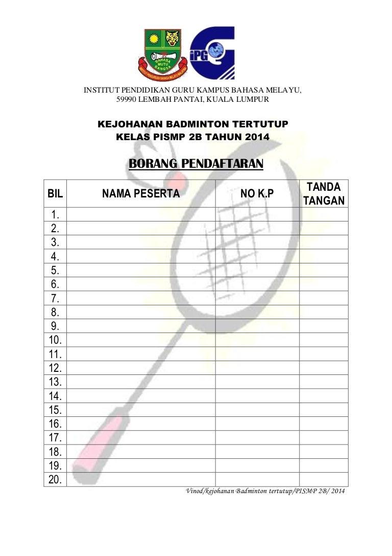 Borang Pendaftaran Badminton