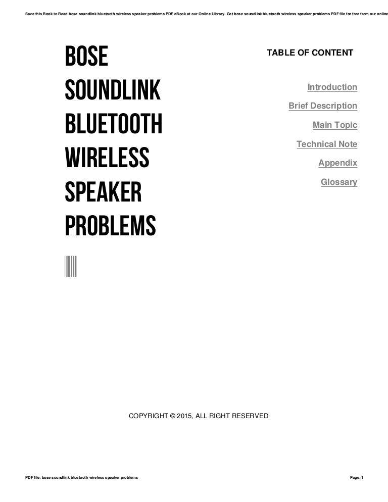 Bose soundlink bluetooth wireless speaker problems