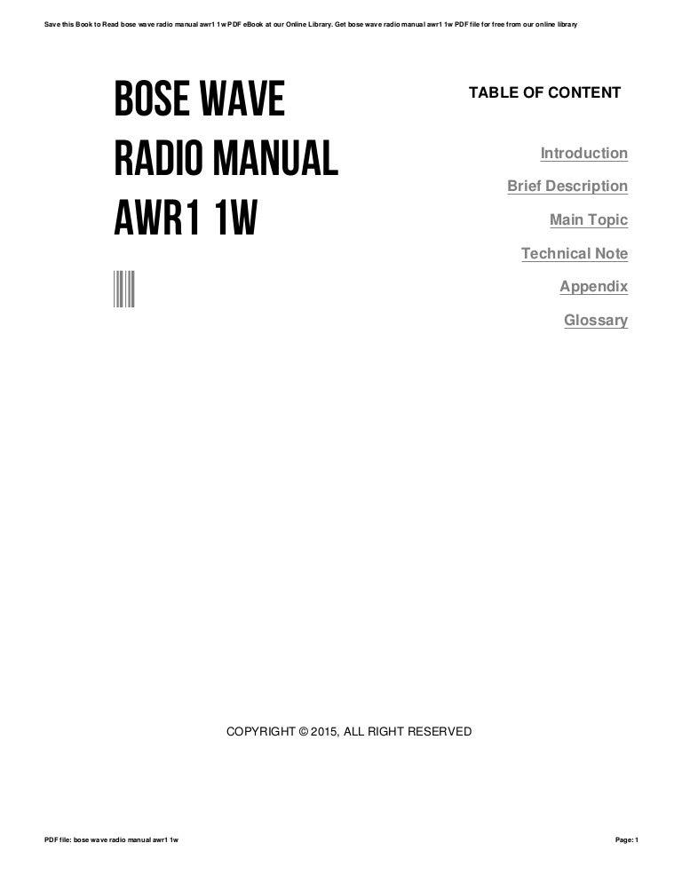 Bose wave radio manual awr1 1w