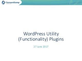 Boston WordPress Meetup June 2017 Utility Plugins