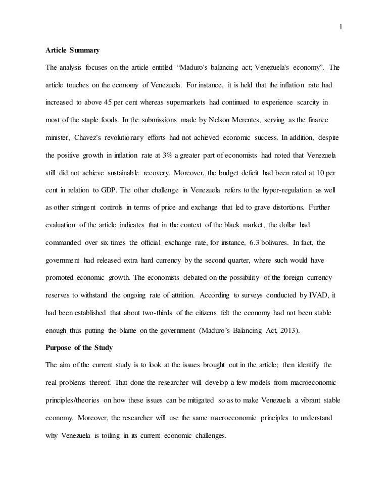 macroeconomics analysis paper