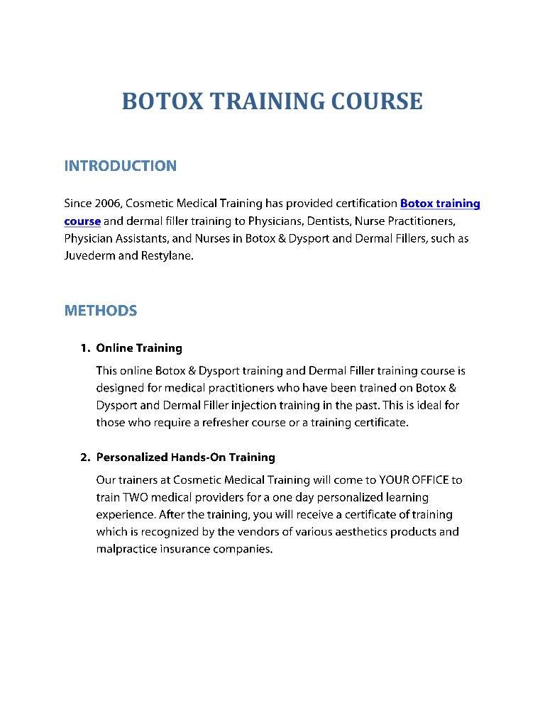 Botox Training Course