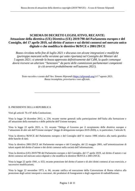 Bozza del decreto di attuazione della direttiva copyright (dir. 2019/790/UE)   luglio 2021