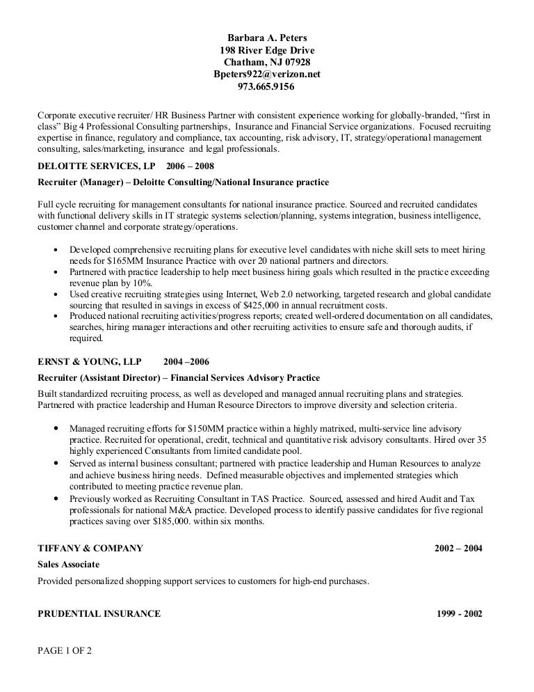 B Peters Resume 2009