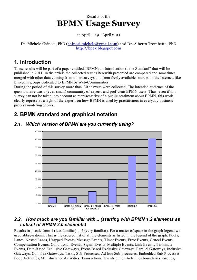 Bpmn Usage Survey Results Process Flow Diagram Using Notation
