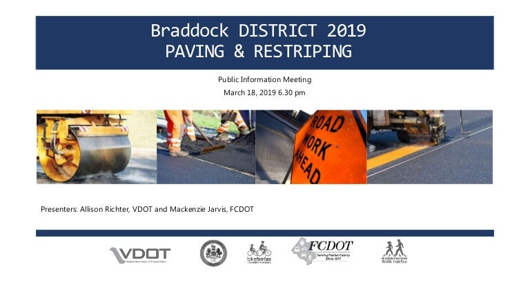 Fairfax County Public Schools Calendar 2019-16 Braddock District 2019 Paving and Restriping: Public Information Meet…