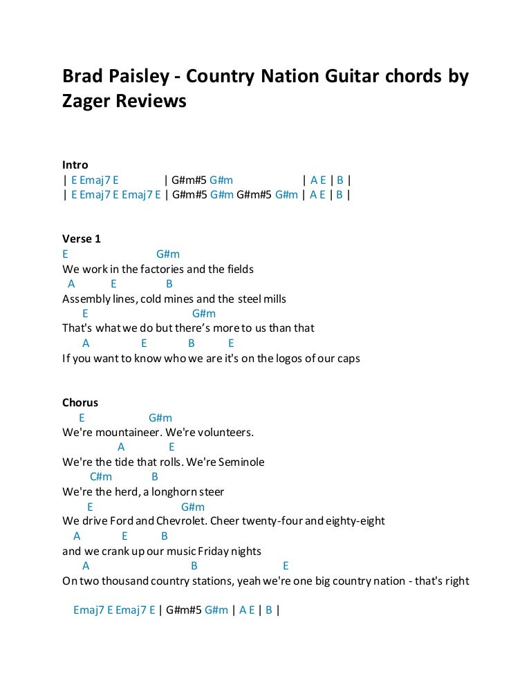 Brad Paisley Country Nation Guitar Chords By Zager Reviews