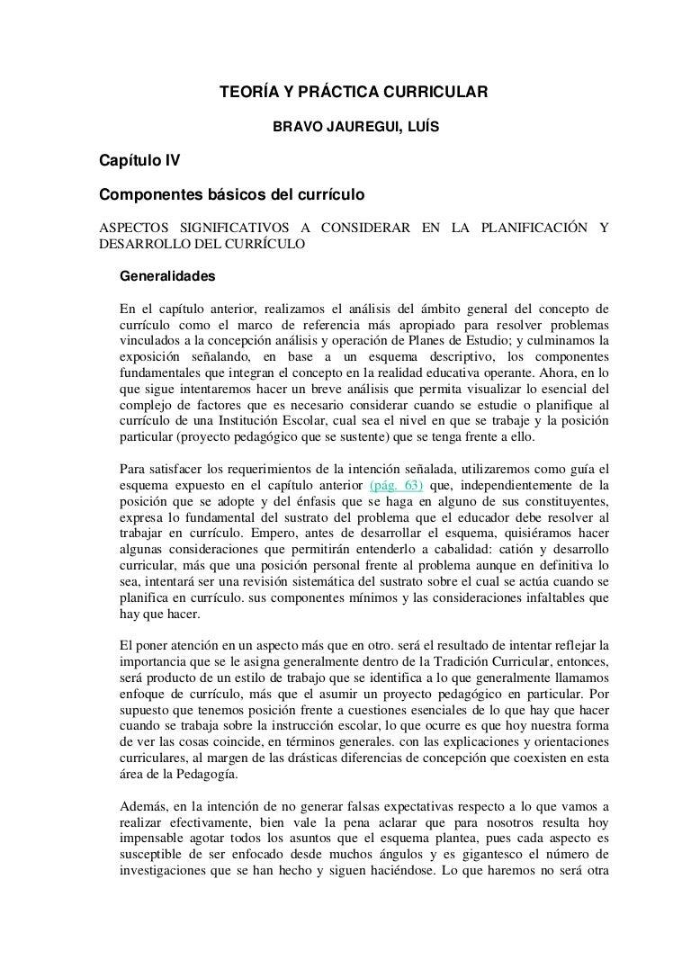 Bravo jauregui, l. componentes basicos del curriculum