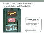 Making a Public History Dissertation More Public