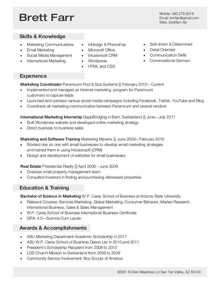 Brett Farr Resume