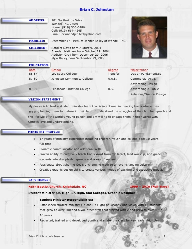 brian johnston ministry resume - Sample Pastoral Resume