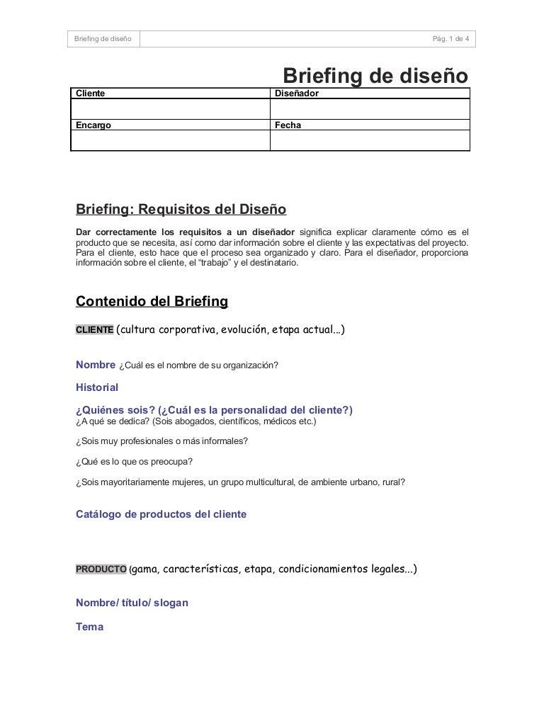 Briefing General Proyectos Diseño Gráfico