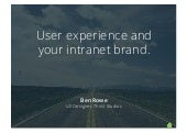 User Experience and your Intranet Brand