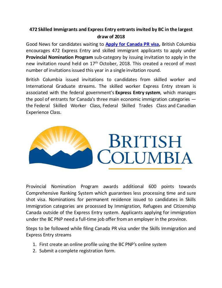 British Columbia 472 Express Entry And Skilled Immigrant Applicants
