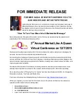 #StartUpStrong Press Release - #MarketLikeAQueen Conference