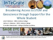 Broadening Access to STEM and Geoscience through Support for the Whole Student