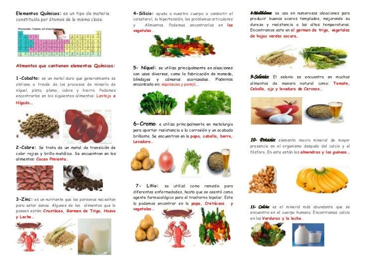 Brochure alimentos que contienen elementos qu micos - Alimentos que contienen silicio ...
