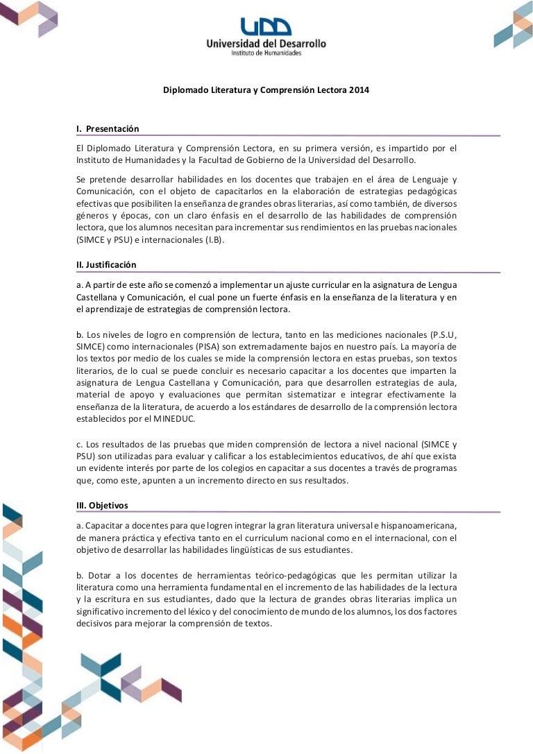 Brochure Diplomado Comprensión Lectora Humanidades & Gobierno UDD 2014