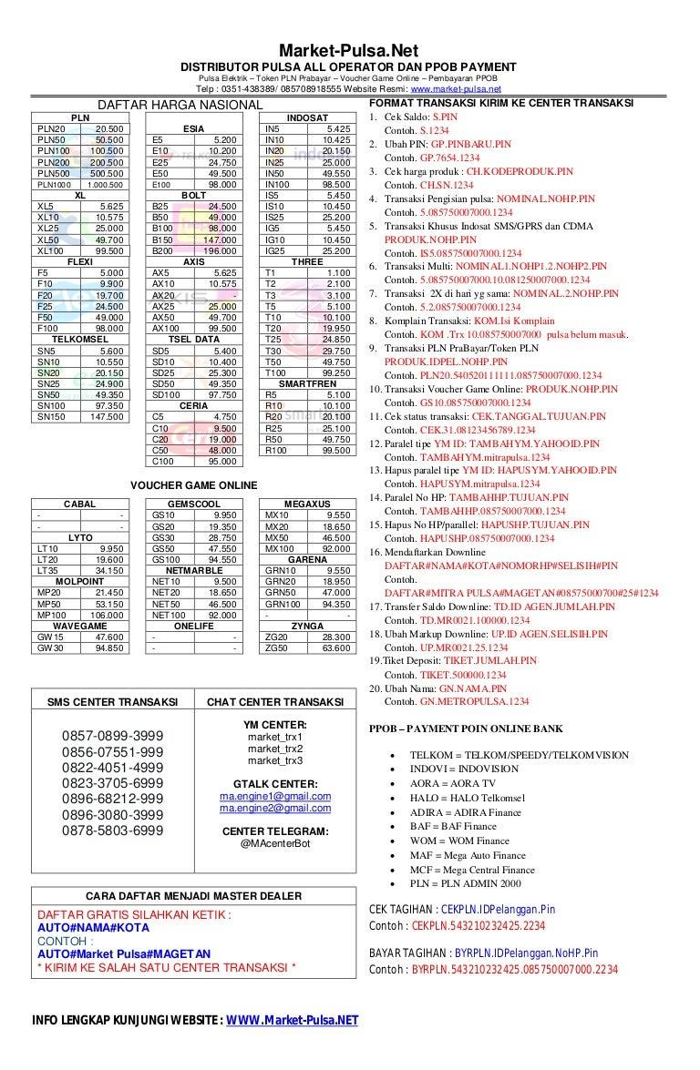 Brosur Daftar Harga Di Market Pula