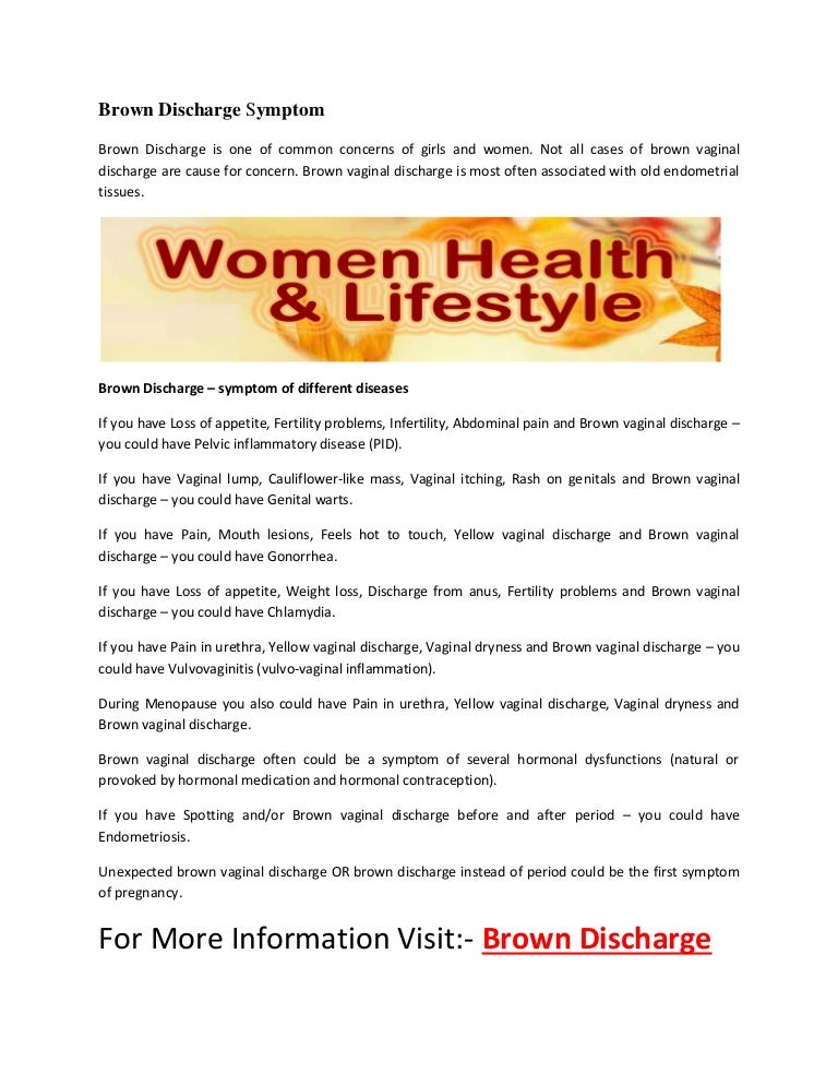 Brown discharge symptom