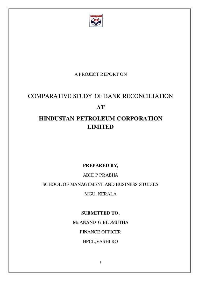 bank reconciliation statement study at hpcl