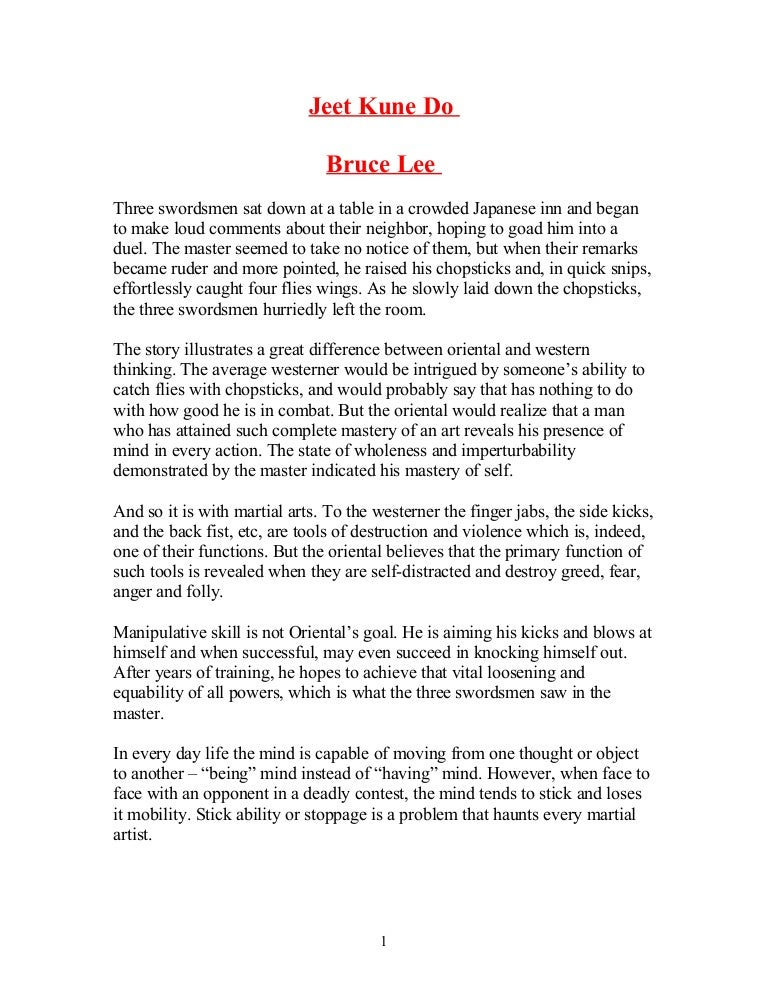 bruce lee essay on jeet kune
