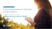 Brussels data science - Privacy Engineering for Big Data & Data Science