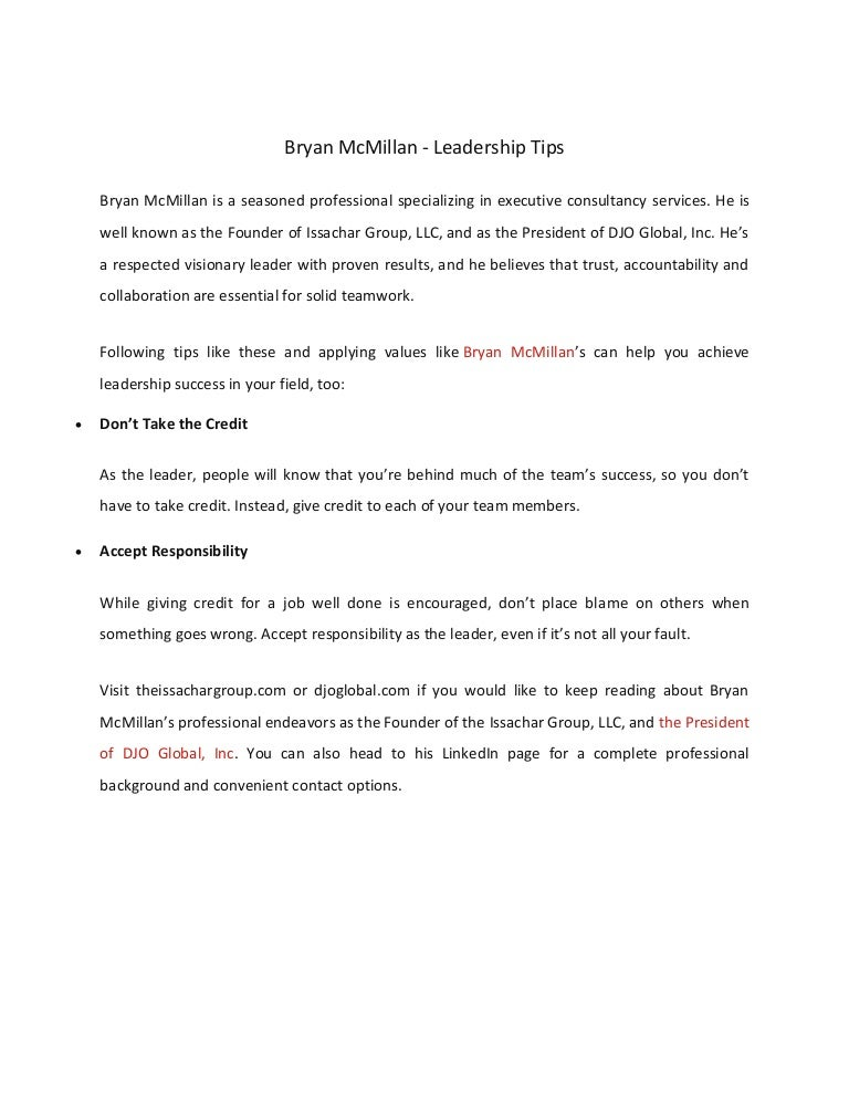 Bryan Mcmillan Leadership Tips
