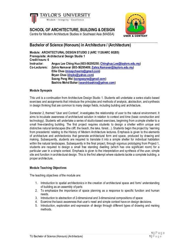 Architecture Design Exercises b sc(hons)(arch) architecture studio 2 arc 1126 outline august 2014