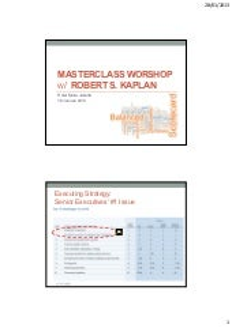 Balanced Scorecard Master Class Workshop - Jakarta 18 January 2013