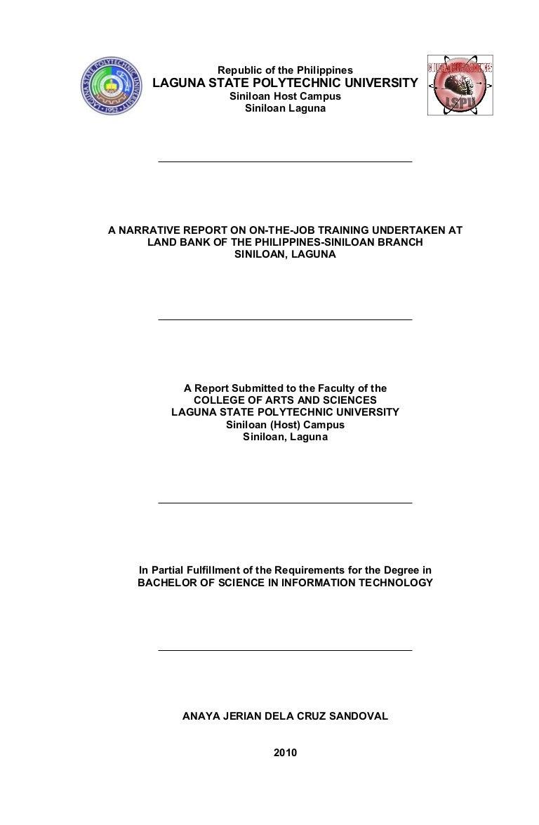 bsit narrative report format 1