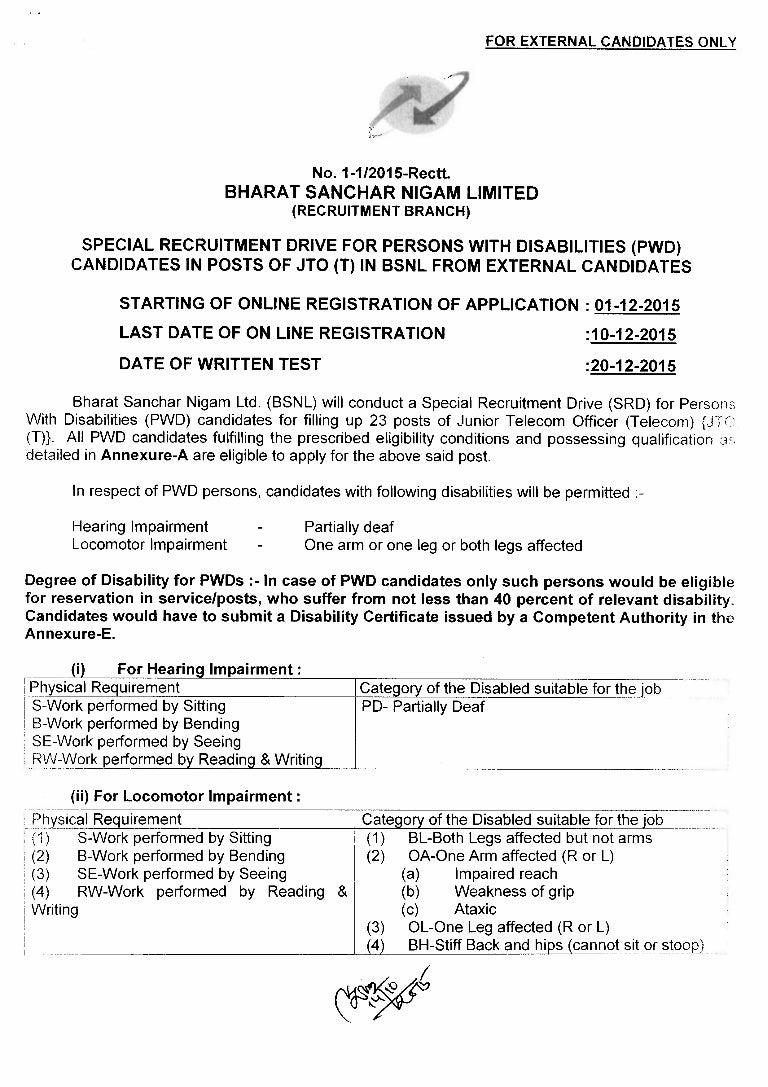 Bsnl Recruitment Junior Telecom Offier Posts Notification 2015 Diode Transistor Logicdtl Circuits By Scu20129