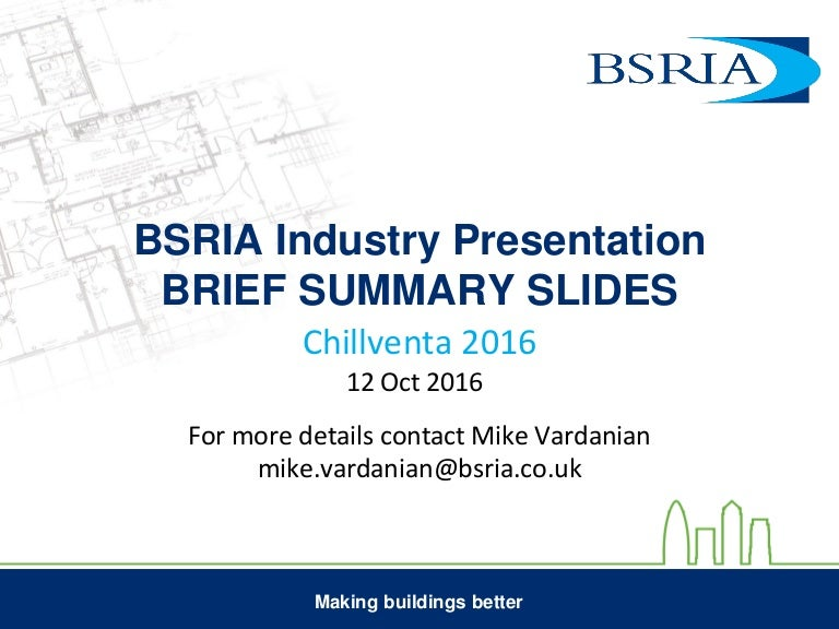 BSRIA Industry Presentation at Chillventa 2016