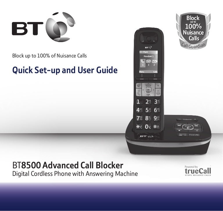 bt 8500 digital cordless phone with advanced call blocker rh slideshare net Panasonic Cordless Phone Batteries Panasonic Cordless Phones