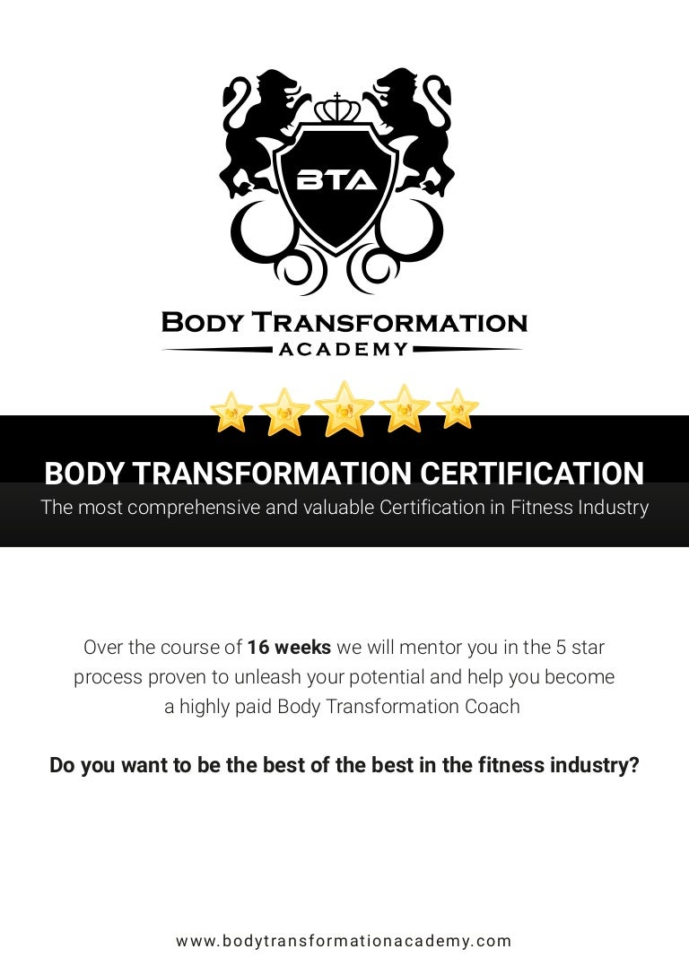 Workbooks total transformation workbook : Body Transformation Certification - Course Brochure