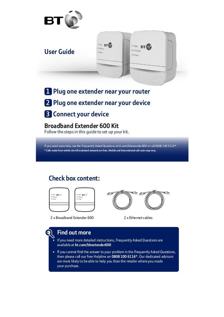 Bt Broadband Extender 600 Kit User Guide Socket Wiring For