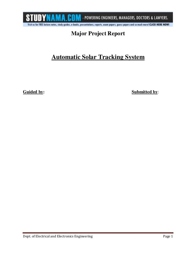 btech eee major project report on automatic solar tracking system f\u2026