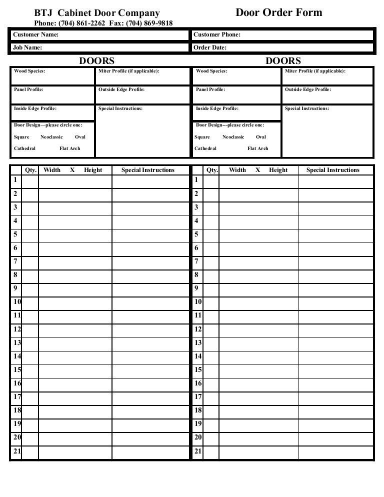 Btj Order Form