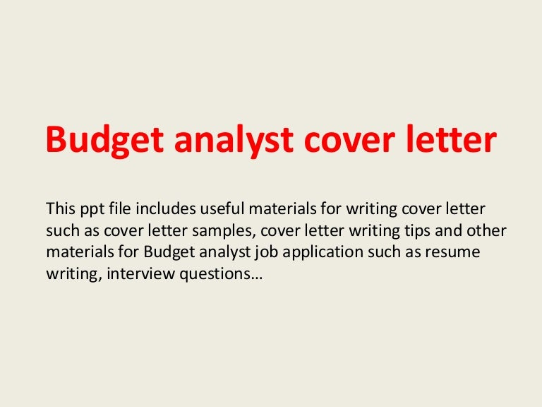 Budget analyst cover letter