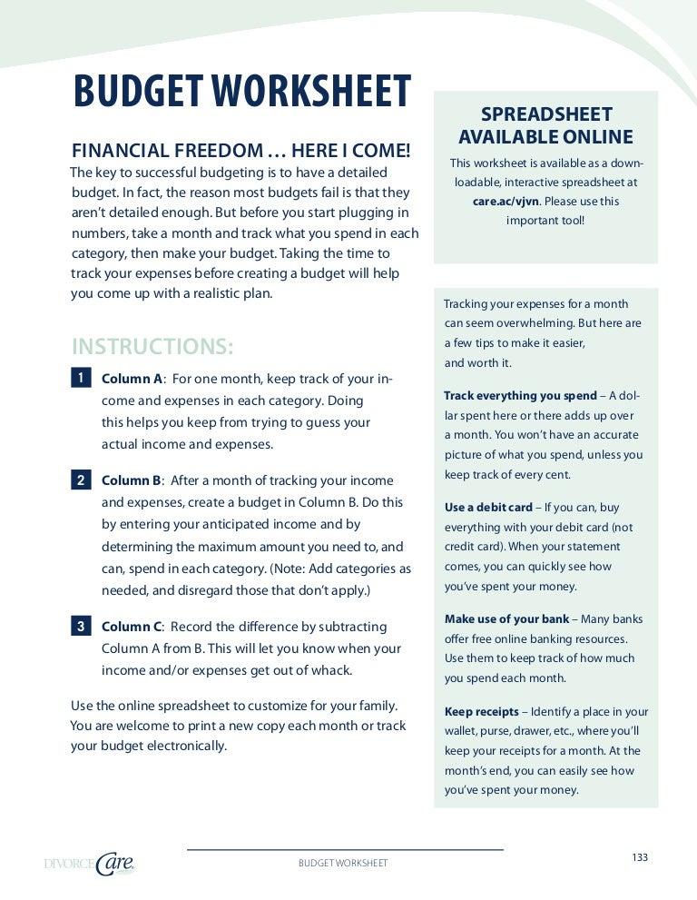 detailed budget worksheet