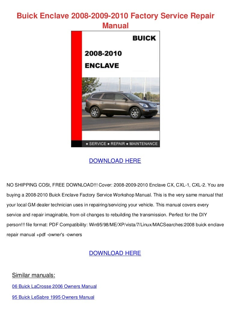 buick enclave 2008 2009 2010 factory service repair manual rh slideshare net 2004 Buick Rainier Pricing 2004 Buick Rainier Parts Catalog