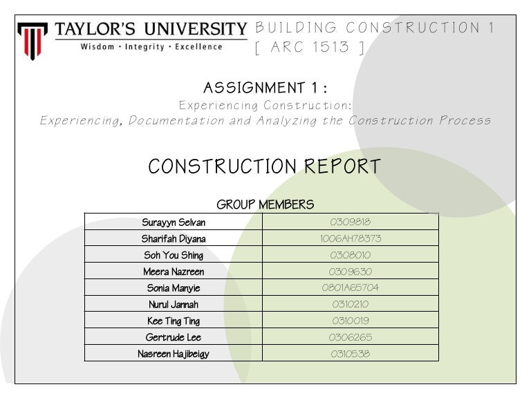 Building Construction Report 1