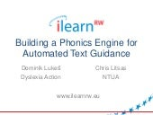 Building a phonics engine for automated text guidance