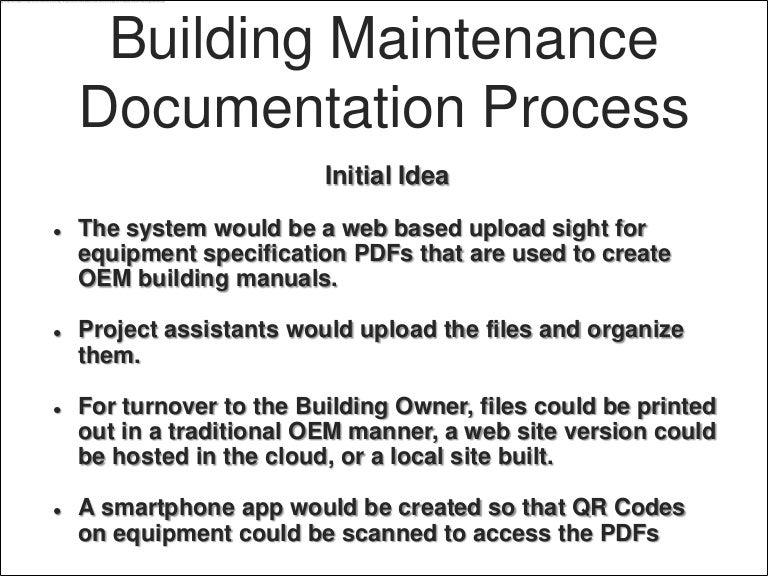 building maintenance documentation rh slideshare net Internal Audit Manual Technical Writing Manual