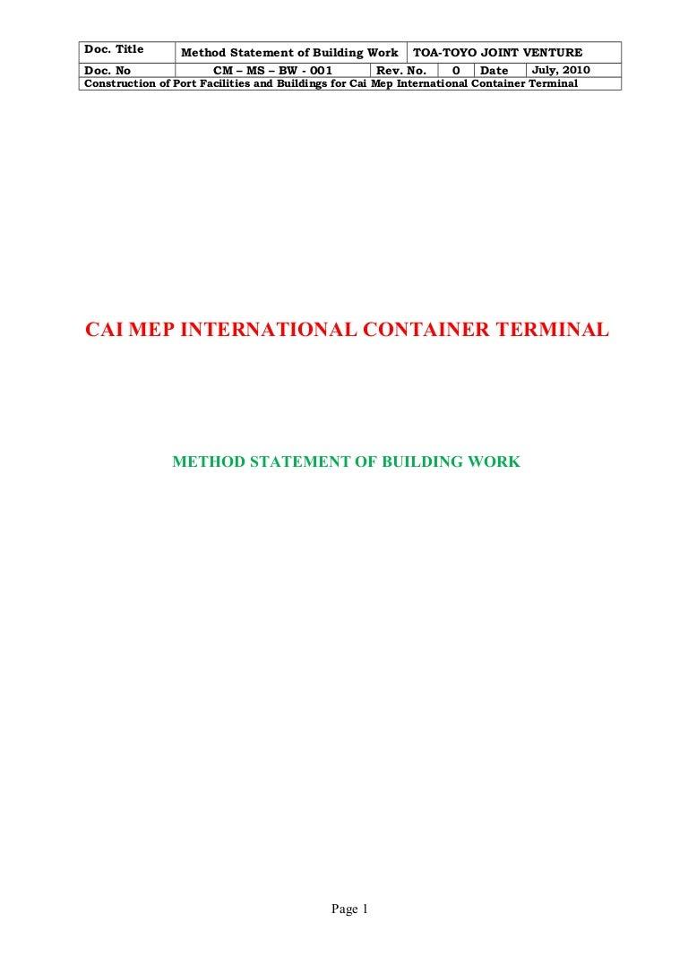 Building work method statement cm ms bw 001 – Method Statement Template Doc