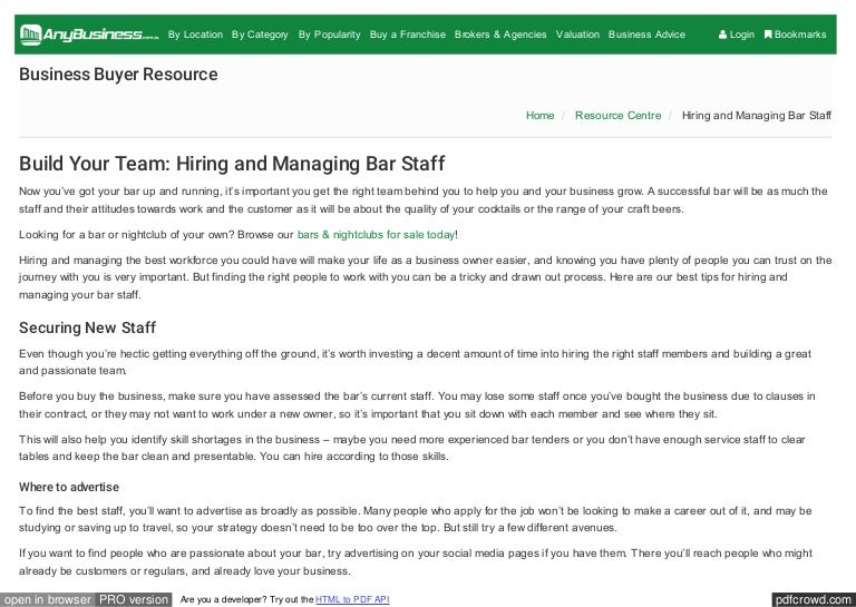 Build Your Team Hiring And Managing Bar Staff