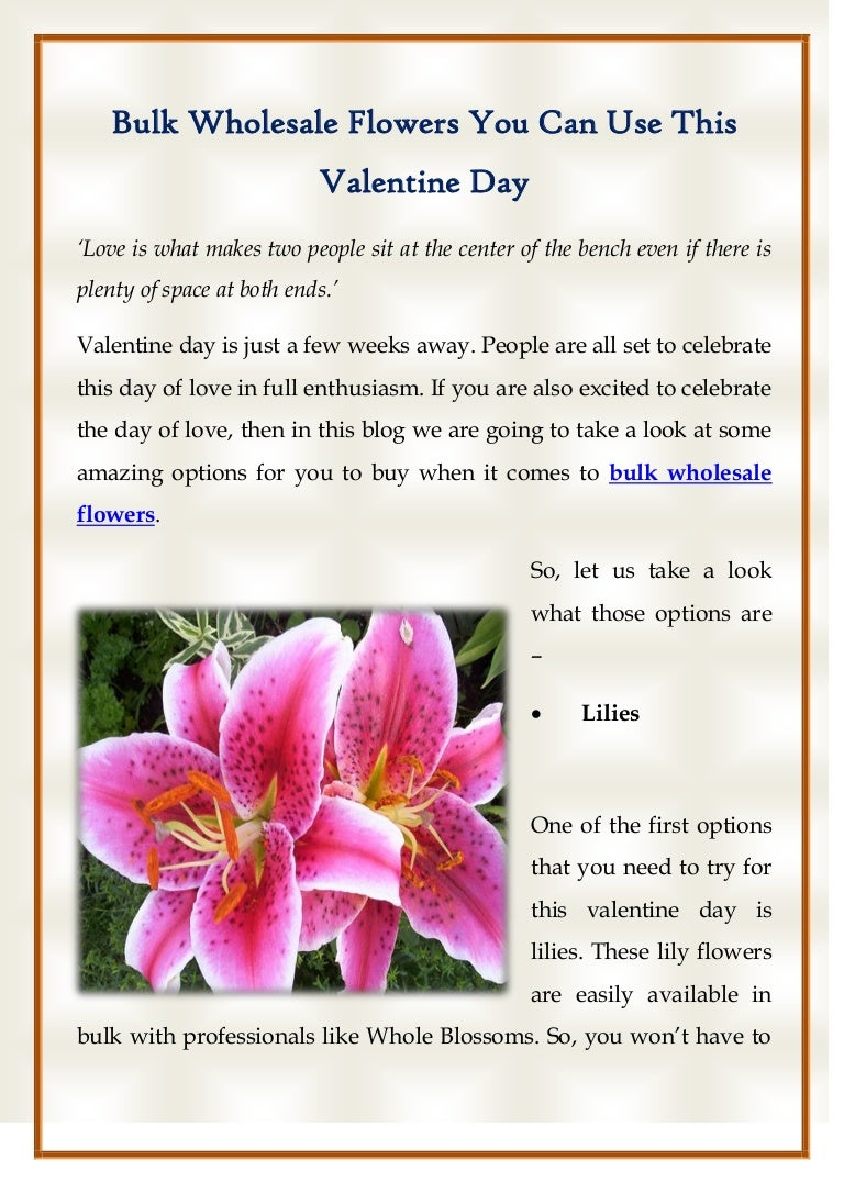 Bulk Wholesale Flowers You Can Use This Valentine Day